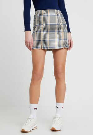 CHECK BUTTON SKIRT - Spódnica mini - blue