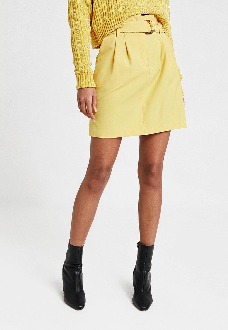 Miss Selfridge - D RING SKIRT - Mini skirt - yellow