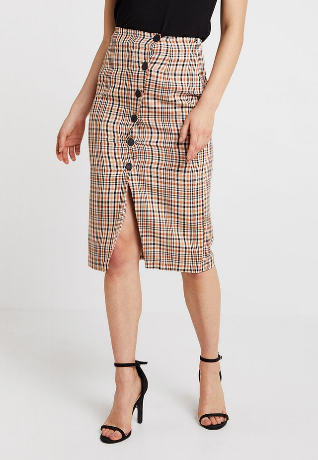 CHECK POPPER PENCIL SKIRT - Pencil skirt - rust