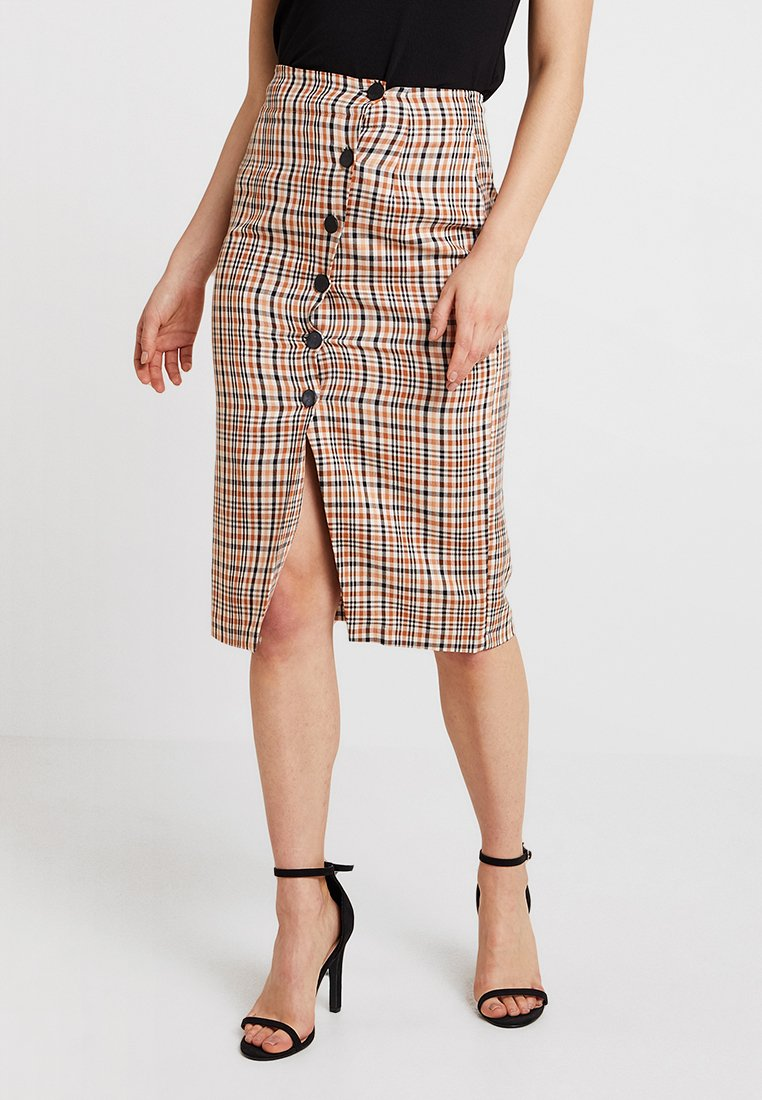 Miss Selfridge - CHECK POPPER PENCIL SKIRT - Pencil skirt - rust