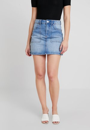 CARGO POCKET SKIRT - Falda acampanada - blue denim