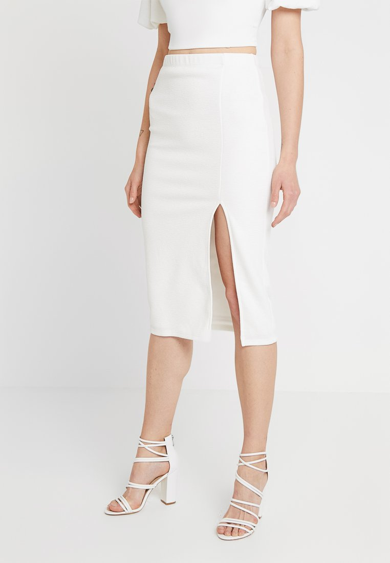 Miss Selfridge - SIDE SPLIT PENCIL SKIRT - Bleistiftrock - white
