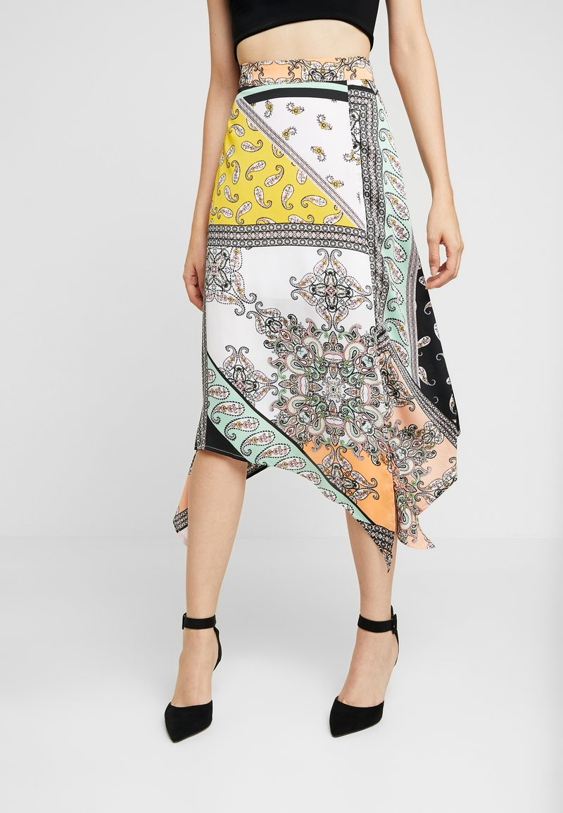 Miss Selfridge - HANKY HEM PRINTED SKIRT - A-Linien-Rock - white