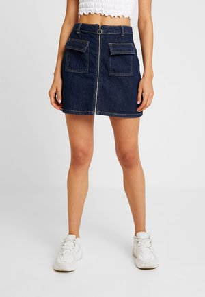 ZIP THROUGH SKIRT - Spódnica trapezowa - blue denim