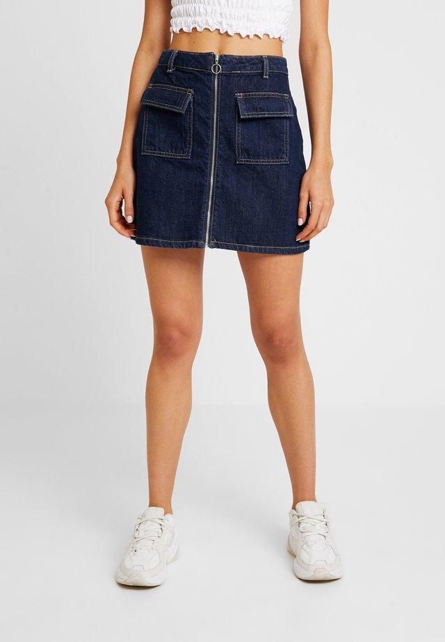ZIP THROUGH SKIRT - A-line skirt - blue denim