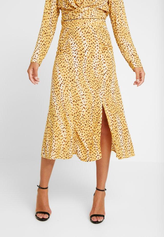 CHEETAH RUCHED COLUMN SKIRT - A-line skirt - natural