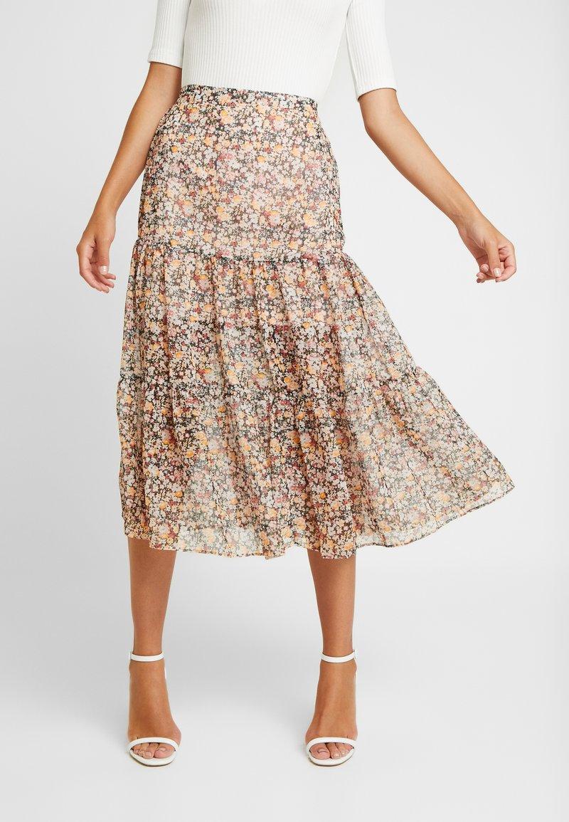 Miss Selfridge - SHEER FLORAL TIERED SKIRT - A-line skirt - blush