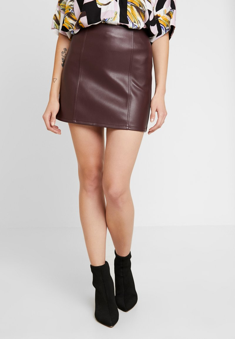 Miss Selfridge - SKIRT - A-line skirt - burgundy
