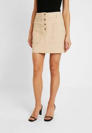 BUTTON THROUGH SKIRT - Falda de tubo - stone