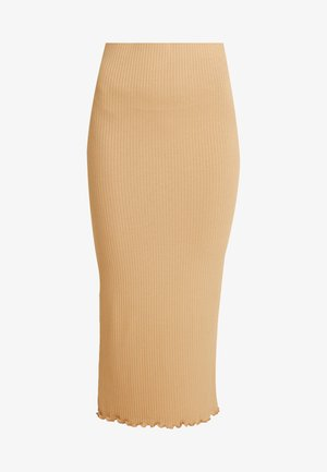 RIBBED LETTUCE EDGE SKIRT - Spódnica ołówkowa  - camel