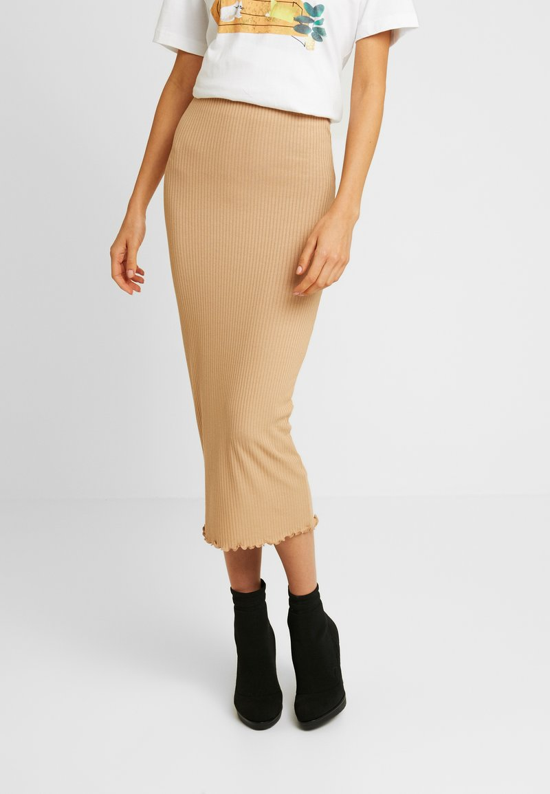 Miss Selfridge - RIBBED LETTUCE EDGE SKIRT - Kokerrok - camel