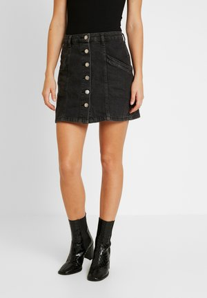 BUTTON THROUGH SKIRT - Jeanskjol - black