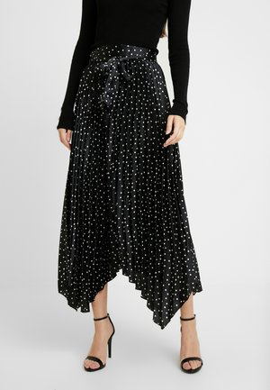 PLEATED POLKA DOT - Plisséskjørt - black