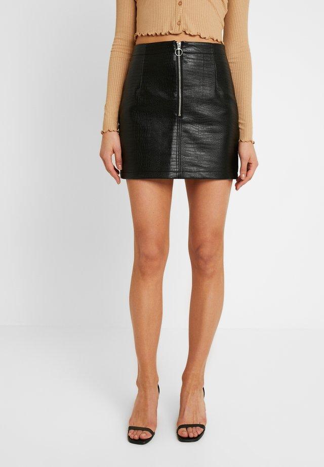 SNAKE SKIRT - Mini skirt - black