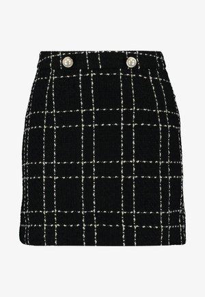 MINI SKIRT PEARL MONO CHECK - Mini skirt - black