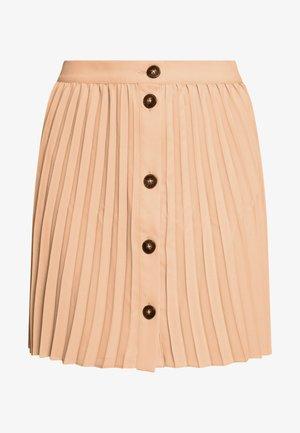 BUTTON PLEATED MINI - Áčková sukně - camel