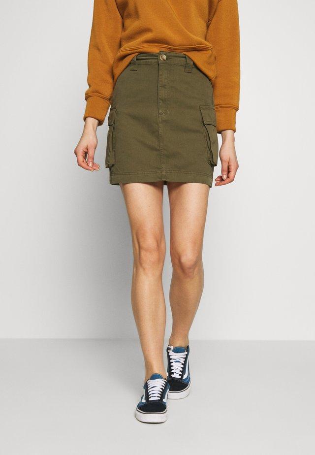 CARGO POCKET SKIRT - Mini skirt - khaki