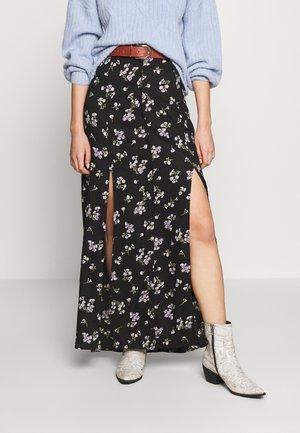 FLORAL SPLIT  - Falda larga - black