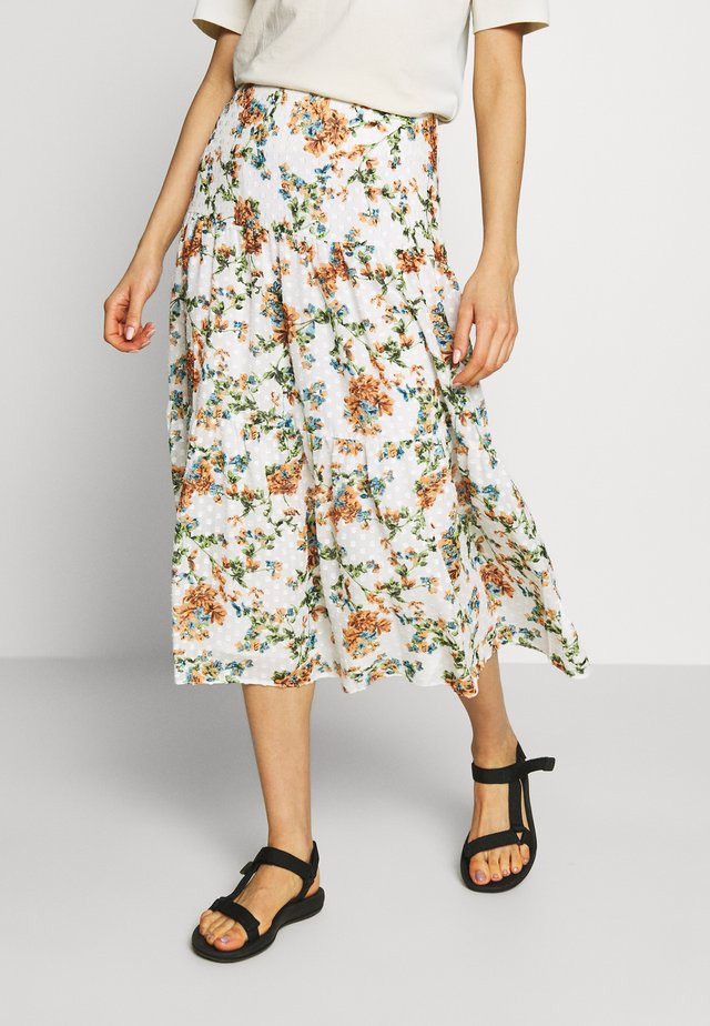DOBBY FLORAL TIERED MIDAXI - Gonna lunga - ivory