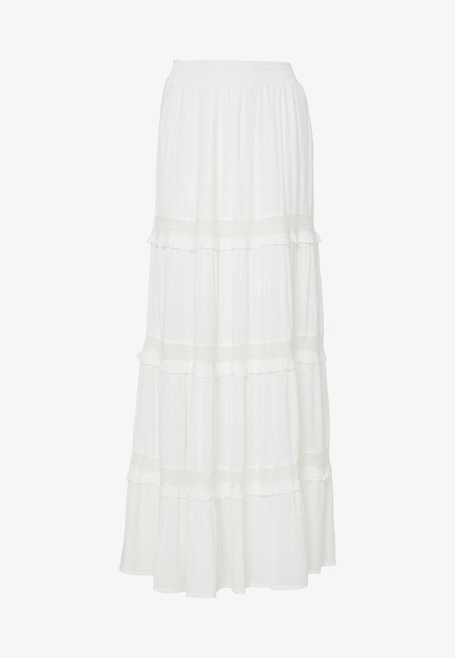 TIERED MAXI DOBBY CHEESECOTH - Maxi skirt - white