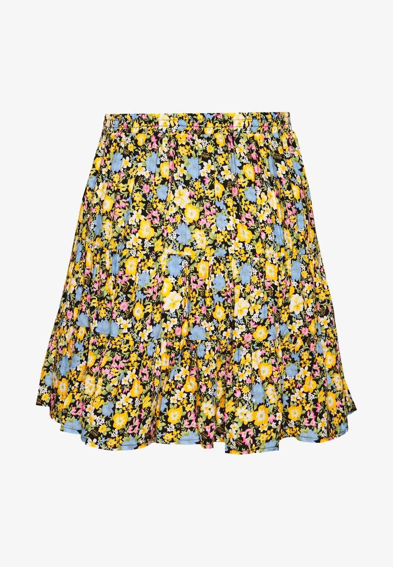 Miss Selfridge - FLORAL TIERED - A-line skirt - black