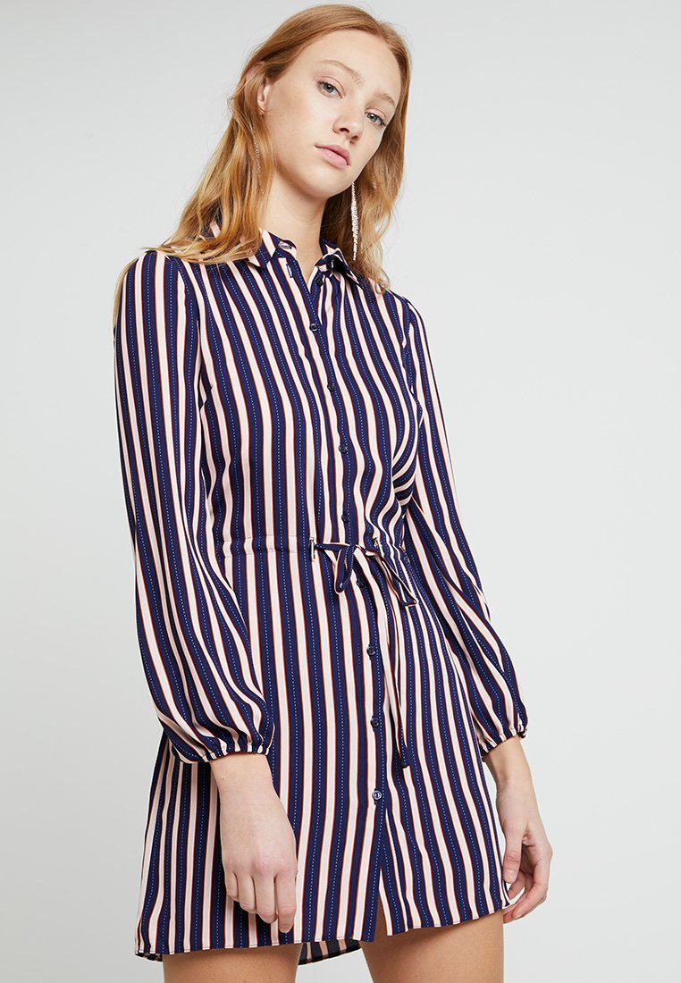 Miss Selfridge - STRIPE DRAWSTRING DRESS - Vestito estivo - navy