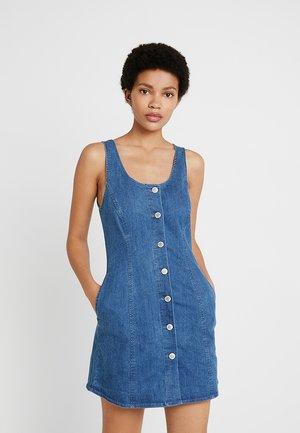BUTTON THROUGH FIT FLARE DRESS - Dongerikjole - blue