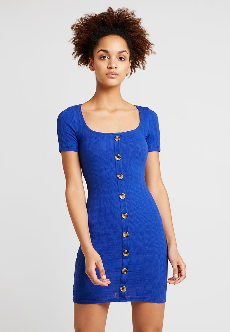 Miss Selfridge - TEXTURED BUTTON THROUGH MINI - Etuikleid - blue