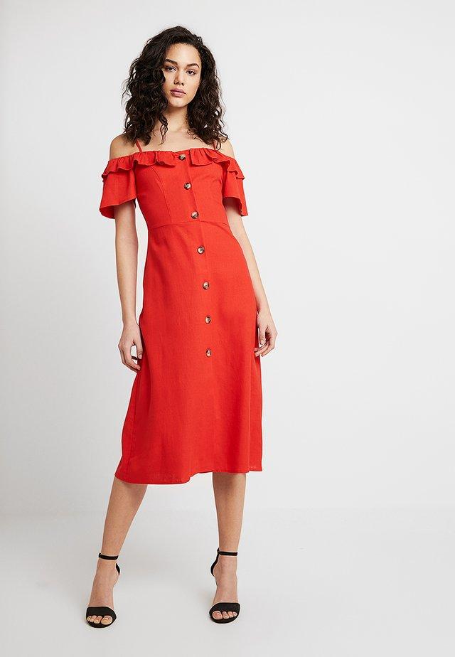 BARDOT FRILL BUTTON THROUGH - Shirt dress - red