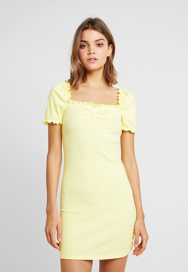 MILKMAID LETTUCE BODYCON MINI - Etuikleid - lemon