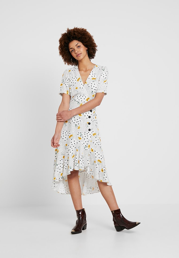 Miss Selfridge - BUTTON WRAP SPOT DITSY DRESS - Maxi dress - ivory