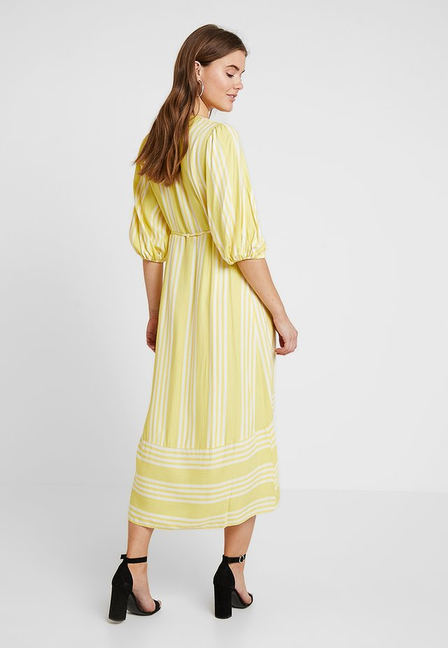 STRIPE WRAP DRESS - Maxi dress - yellow/ivory