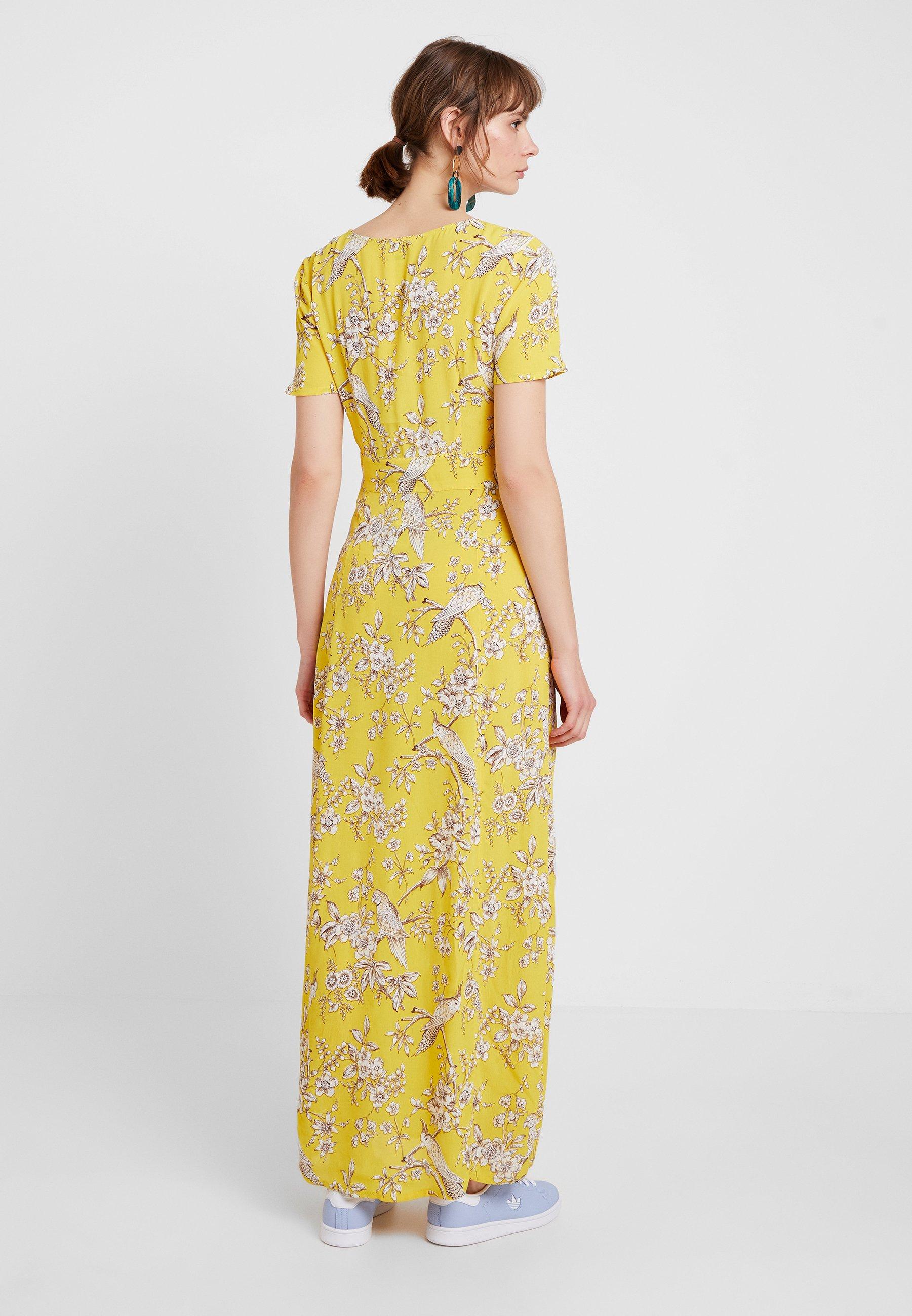 Miss Yellow Selfridge DressRobe Bird Button Through Longue gbyf67