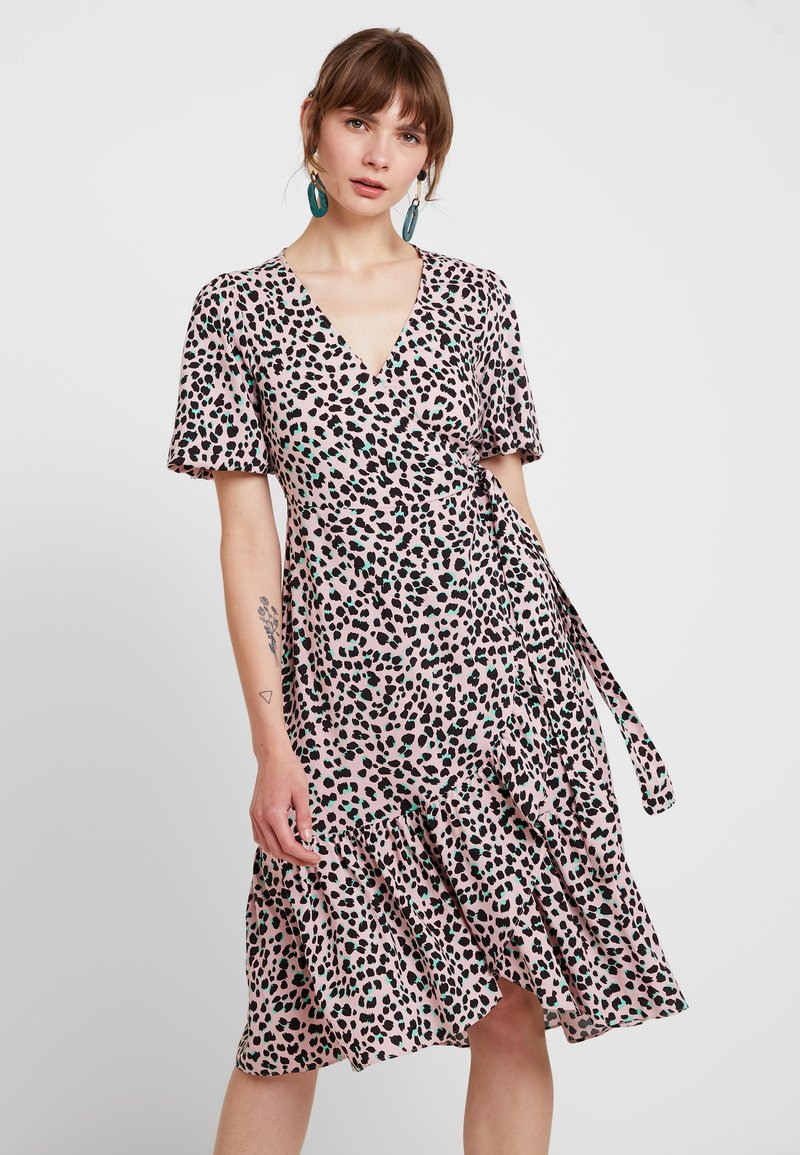 Miss Selfridge - ANIMAL FRILL WRAP MIDI DRESS - Day dress - pink
