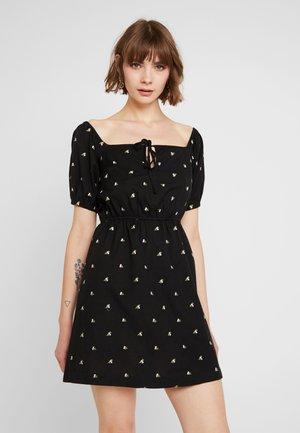 MILKMAID EMBROIDEREDTEA DRESS - Vestito estivo - black