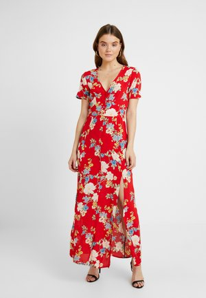 FLORAL BUTTON THROUGH MAXI DRESS - Maxikjoler - red