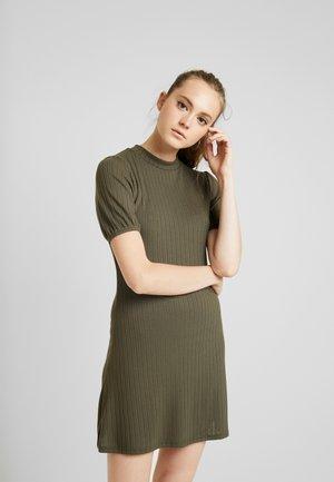 PUFF SLEEVE MINI DRESS - Gebreide jurk - khaki