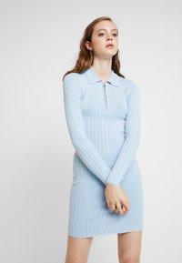 Miss Selfridge - ZIP MINI DRESS - Strikket kjole - blue - 0