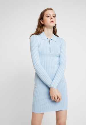 ZIP MINI DRESS - Strikket kjole - blue