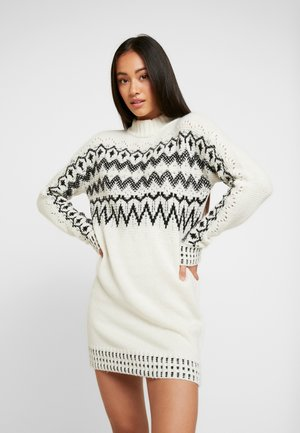 FAIRISLE DRESS - Jumper dress - cream/black