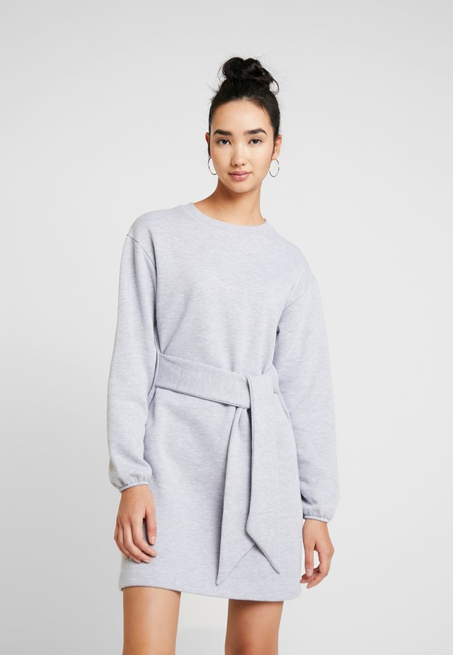 BELTED MINI DRESS - Day dress - grey