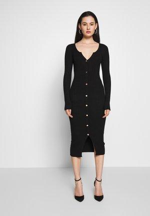 BUTTON SPLIT DRESS - Robe fourreau - black