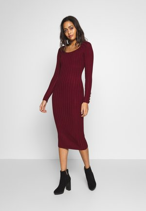 DRESS - Strikket kjole - bordeaux