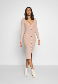 Miss Selfridge - BUTTON SPLIT DRESS - Jumper dress - oatmeal - 1
