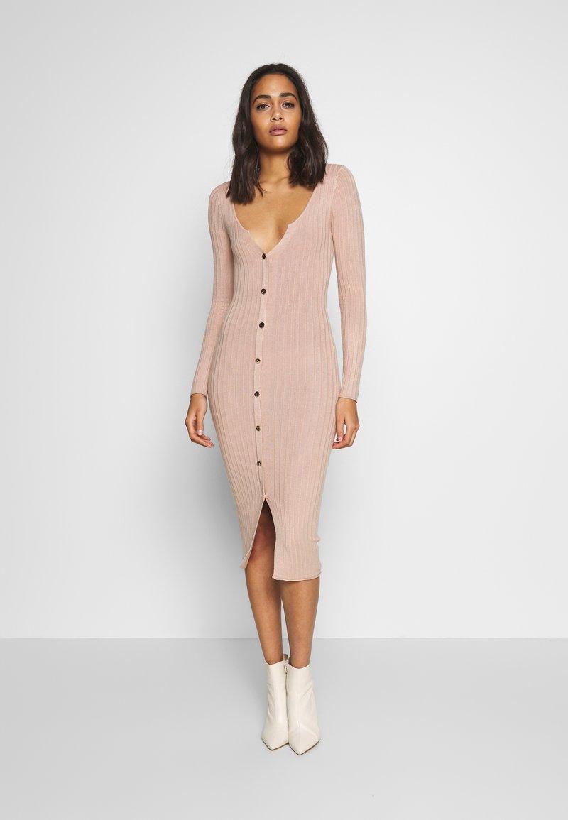 Miss Selfridge - BUTTON SPLIT DRESS - Jumper dress - oatmeal