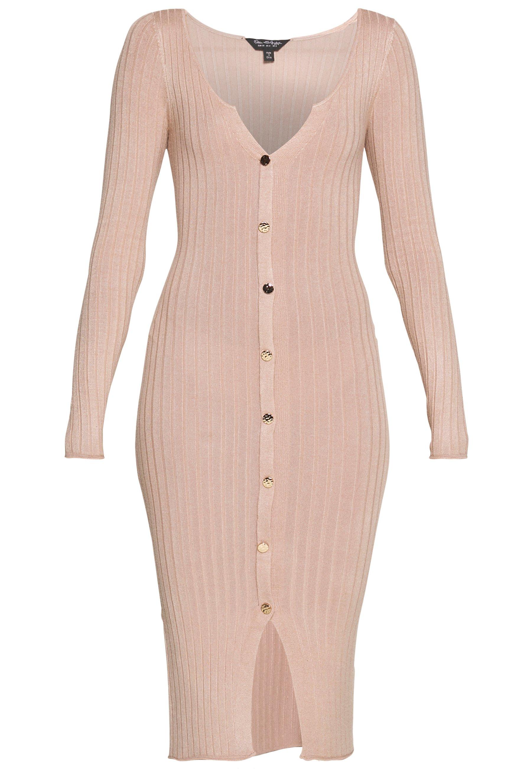 Miss Selfridge BUTTON SPLIT DRESS - Sukienka dzianinowa - oatmeal