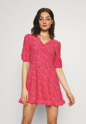FRILL BUTTON FRONT MINI - Robe d'été - red