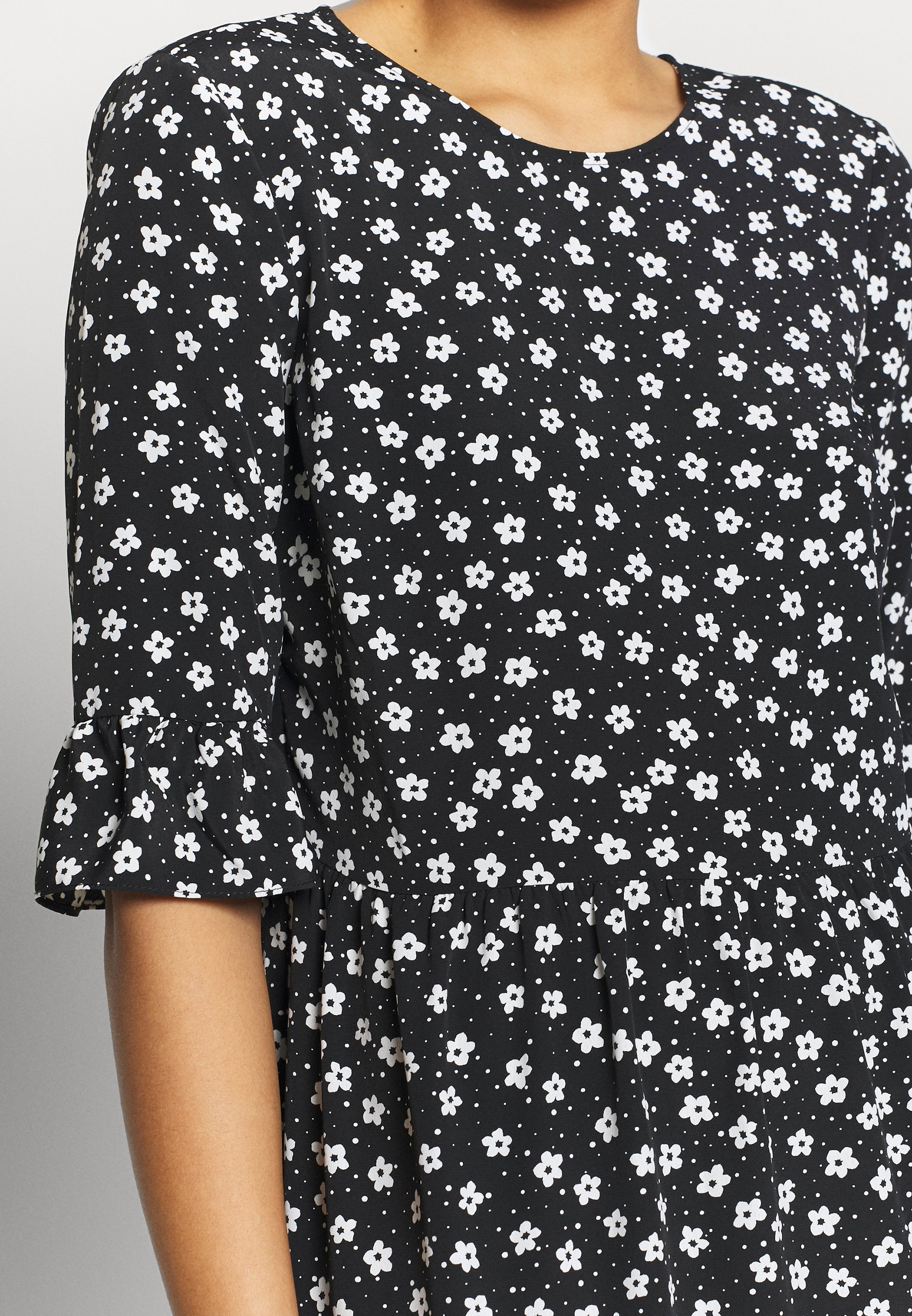 Miss Selfridge Mono Floral Smock - Robe D'été Black