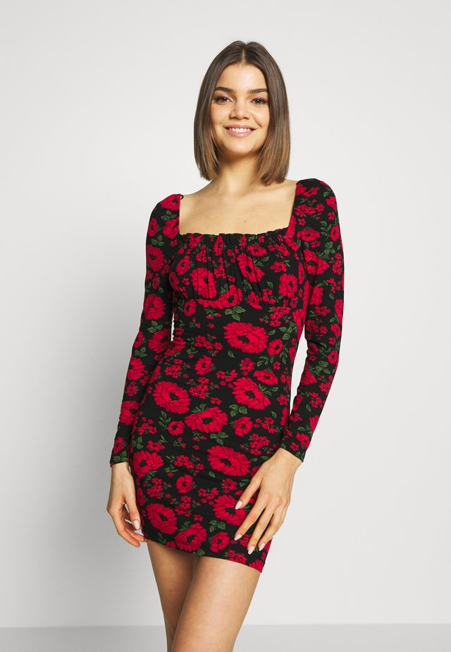 FLORAL BODYCON MINI - Vestido de tubo - black