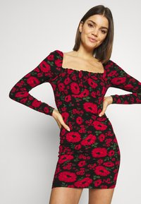 Miss Selfridge - FLORAL BODYCON MINI - Tubino - black - 4
